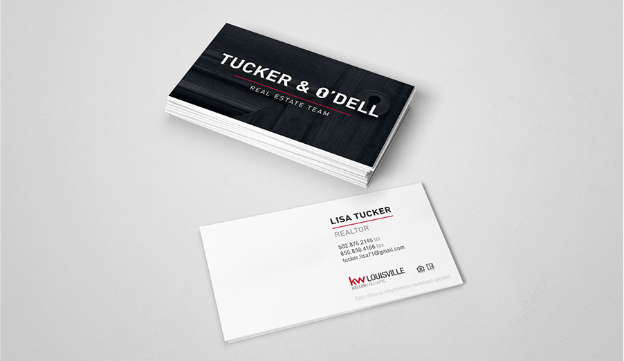 Business cards and logo design tucker odell manik designs realtor business card graphic design louisville reheart Images